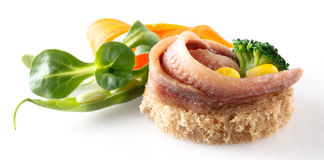 Anchovies fillet with bread isolated Stock Images
