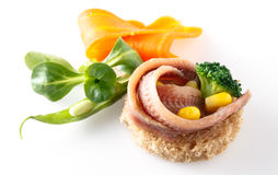 Anchovies fillet with bread and vegetables Stock Photo