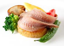 Anchovies fillet with vegetables Stock Photography
