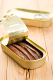 Anchovies fillets in tin can Royalty Free Stock Images
