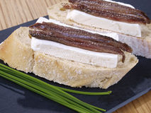 Anchovies and fresh cheese tapas. Royalty Free Stock Photography
