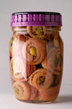 Anchovies in glass jar Stock Photo