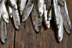 Anchovies (hamsi) on old table Royalty Free Stock Photos