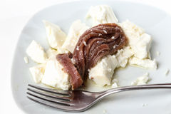 Anchovies in oil with fresh cheese Stock Photo