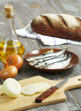 Anchovies, onions and bread. Stock Images