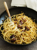 Anchovies Pasta. Pasta with Anchovies and Olives Stock Image