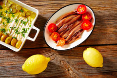 Anchovies vinegar tapas from Mediterranean Stock Image