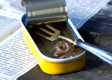 While with anchovy. Open canister with three anchovy on newspaper Royalty Free Stock Photos