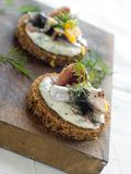 Anchovy canapes Stock Images