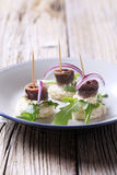 Anchovy canapes Royalty Free Stock Image
