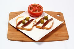 Anchovy canapes Royalty Free Stock Photos