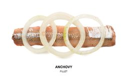 Anchovy filet isolated. Anchovy with onion rings isolated on white background. Fish filet with clipping path. Flat lay and top view Royalty Free Stock Photo