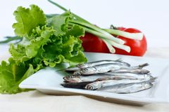 Anchovy fish on a plate with vegetables Royalty Free Stock Photography