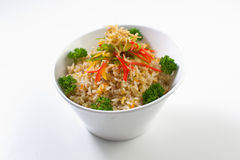 Anchovy Fried Rice. On a bowl, white background Royalty Free Stock Images