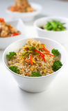 Anchovy Fried Rice. On a bowl, white background Stock Images