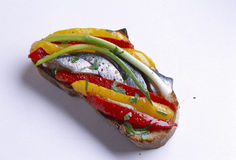Anchovy and pepper open sandwich Stock Image
