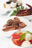 Anchovy rolls served as appetizer Stock Photo