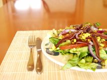 Anchovy salad. Salad ready for eat Royalty Free Stock Photos