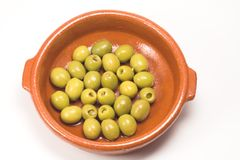 Anchovy stuffed olives. (popular spanish snack stock photos