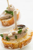 Anchovy tapas. Tasty and typical spanish food Royalty Free Stock Photography
