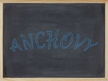 Anchovy written in blue on a blackboard. To mean a business concept Stock Photo