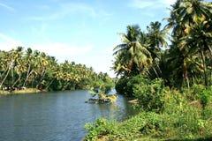 Anchuthengu, Keerala风景横向  免版税图库摄影