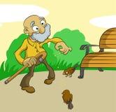 Ancião com pássaros Imagens de Stock