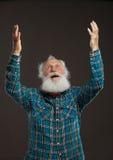Ancião com uma barba longa com sorriso grande Fotografia de Stock Royalty Free