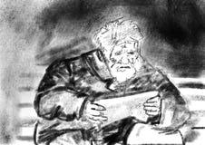 Ancião grande que lê um papel em um banco ilustração do vetor