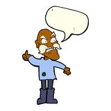 ancião irritado dos desenhos animados na roupa remendada com bolha do discurso Imagens de Stock