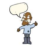 ancião irritado dos desenhos animados na roupa remendada com bolha do discurso Fotografia de Stock Royalty Free