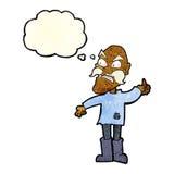 ancião irritado dos desenhos animados na roupa remendada com bolha do pensamento Imagem de Stock