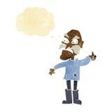 ancião irritado dos desenhos animados na roupa remendada com bolha do pensamento Imagens de Stock Royalty Free
