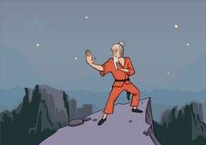 Ancião, mestre de artes marciais que praticam o wushu nas montanhas Ilustração do vetor ilustração stock