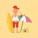 Ancião que guarda a prancha e o suco das bebidas Imagens de Stock Royalty Free