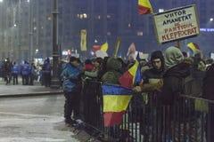 Anci korupcja protesty w Bucharest Zdjęcia Stock