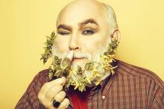 Anci?o com flores e folhas na barba foto de stock