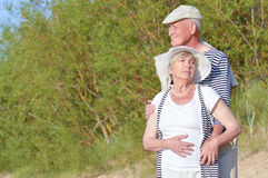Ancianos de los pares en la playa Fotografía de archivo libre de regalías
