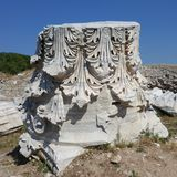 Ancie t City of Kyzikos in Balıkesir Turkey. Antique remains  Marble figures temple Royalty Free Stock Images