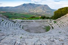 Ancien architecture of ruins Greek amphitheater, Segeste, Sicily stock image
