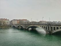 The ancien bridge and the river rhone of lyon old town, Lyon, France Royalty Free Stock Photo
