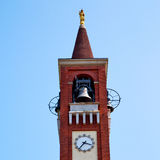 ancien clock tower in it aly europe old  stone and bell Royalty Free Stock Photo