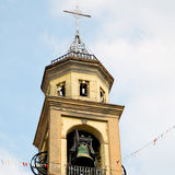 ancien clock tower     in italy europe old  stone and bell Royalty Free Stock Photo