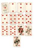 ancien los corazones de las tarjetas que juegan Foto de archivo libre de regalías