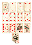 Ancien playing cards diamonds stock images
