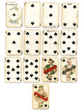 Ancien playing cards spades royalty free stock photo