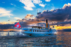 Ancien steam boat with swiss flag Royalty Free Stock Photography