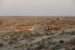 Ancienne flotte de pêche d'Aral Photos libres de droits