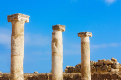 Ancient �olumns, the UNESCO world heritage site at Pafos Stock Photo