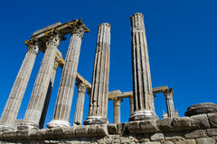 Ancient 1st century Roman temple. Of Diana in Evora, Portugal stock photography